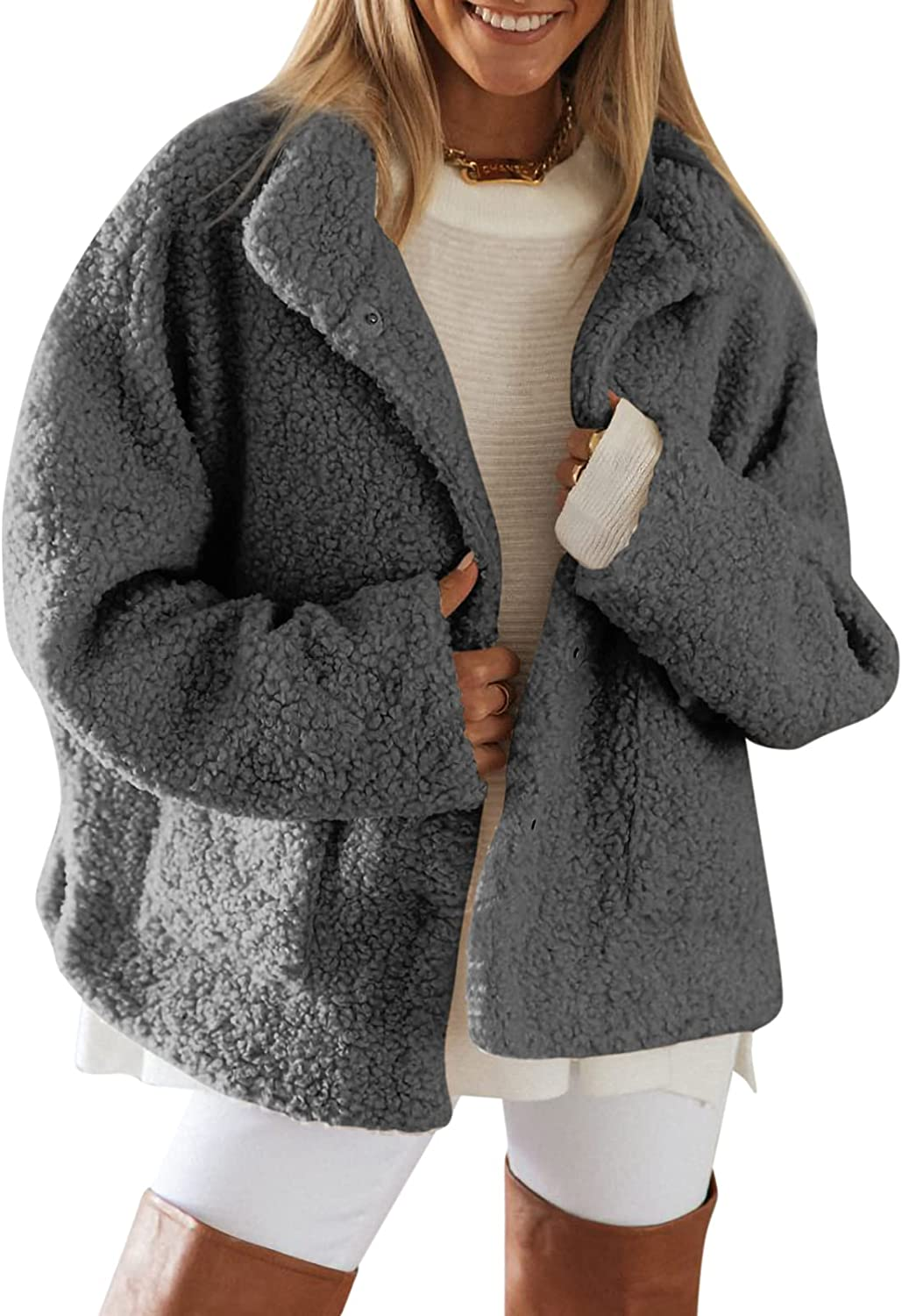 Womens Shearling Coat Long Sleeve Lapel Buckled Shaggy Fluffy Sweater With Pockets Warm Winter