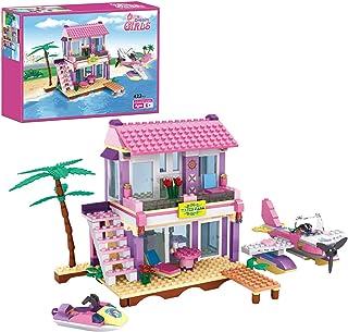 COGO Dream Girls Blocks Educational Toys Pink Beach House Friends Villa Building Blocks for Kids Construction Toys Buildin...