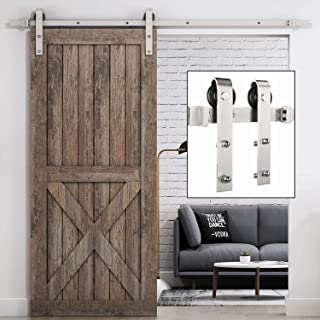 EaseLife 8 FT Heavy Duty Brushed Nickle Sliding Barn Door Hardware Track Kit,Modern,Slide Smoothly Quietly,One Piece 8FT Track,Easy Install,Fit 40