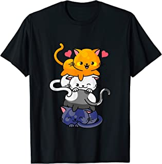 Chat mignon Pour Femmes Filles Kitty Pile Anime Kawaii Neko T-Shirt