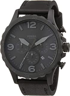 Fossil Nate Men's Black Dial Leather Band Chronograph Watch - JR1354