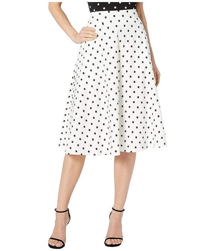 Unique Vintage Retro Style White Black Polka Dot High-Waisted Vivien Swing Skirt (White/Black Dot) Women