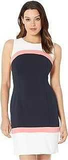 Women's Scuba Crepe Color Block A-Line Dress
