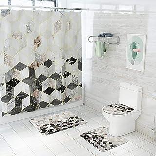 ZHEBEI Marble Pattern Waterproof Shower Curtain Bath Mat and Curtain Bath Mat Set Bathtub Screen Toilet Cover Carpet Home ...