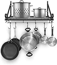 Sorbus Pots and Pan Rack — Decorative Wall Mounted Storage Hanging Rack — Multipurpose Wrought-Iron shelf Organizer for Kitchen Cookware, Utensils, Pans, Books, Bathroom (Wall Rack - Black)