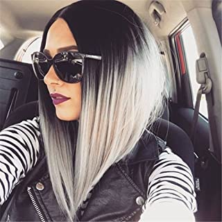 Black and Grey Ombre Bob Wig for Women Short Straight Full Wig
