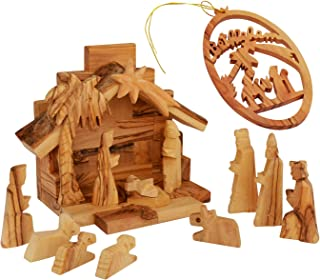 The Jerusalem Gift Shop Olive Wood Nativity Set with Olive Wood Figurines Made in Bethlehem - Including Christmas Tree Decoration
