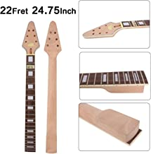 Yinfente Guitar Neck 22 fret 24.75 inch Flying V Electric Guitar Rosewood Guitar Fretboard Binding Headstock (bolt on)