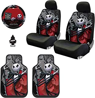 Yupbizauto New 10 Pieces Nightmare Before Christmas Jack Skellington Ghostly Car Truck SUV Seat Covers Floor Mat Set with Little Tree Air Freshener