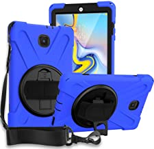"Galaxy Tab A 8.0 T387 (2018/2019، LTE) Case، KIQ Shockproof Heavy Duty Military Shield Full-Body Rugged Armour Kickstand Shoulder Strap Sling Sling Case for Samsung Galaxy Tab A 8.0 ""SM-T387 (Blue)"
