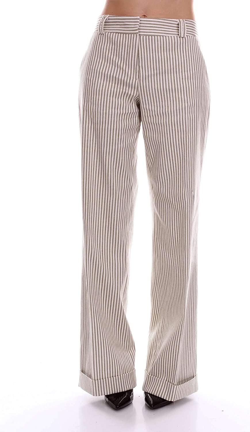 BARBA Women's 8441GRETAWHITE White Cotton Pants