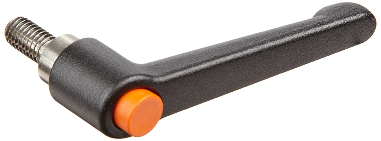 Die Cast Zinc Adjustable Handle with Orange Push Button, S/S Threaded Stud, 2-15/32