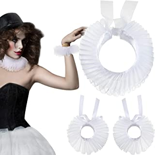 Renaissance Collar and Cuff Set Victorian Costume Halloween Cosplay Accessories Wrist Cuffs Ruffled Neck Collar