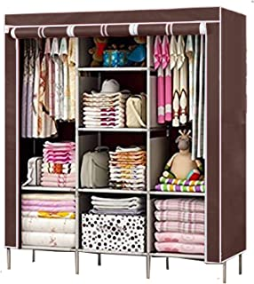 FASNO 6+2 Layer Fancy and Portable Fabric Foldable Collapsible Multipurpose Space Wardrobe Color Brown 88130