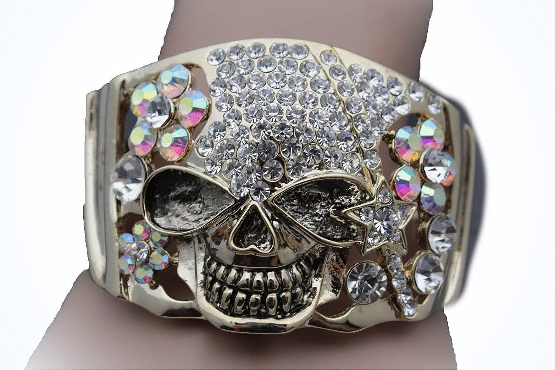 Women Gold Metal Cuff Bracelet Pirate Skeleton Skull Halloween J