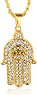 Halukakah ● Prayer ● Men's 18k Real Gold Plated All-Seeing Eye Hand Pendant Artificial Diamond Set Necklace with Free Rope Chain 30