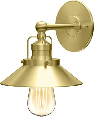 Gatco 1713 Modern Farmhouse Retro Single Metal Sconce, Brushed Brass