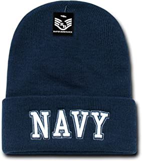 4560590771e Embroidered USN Navy Blue White Officially Military Cuff Watch Cap Stocking  Hat Beanie
