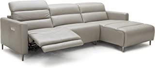 J and M Furniture Dylan RHF Chaise Taupe Power Reclining Motion Leather Sectional