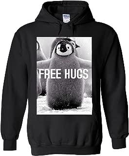 Penguin Free Hugs Funny Novelty Black Men Women Unisex Hooded Sweatshirt Hoodie