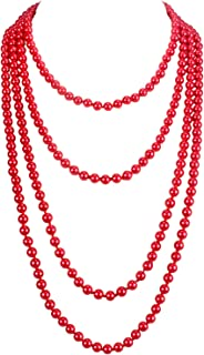 Fashion Faux Pearls Pendants 1920s Beads Cluster Long Pearl Necklace for Costume Party Jewelry 55