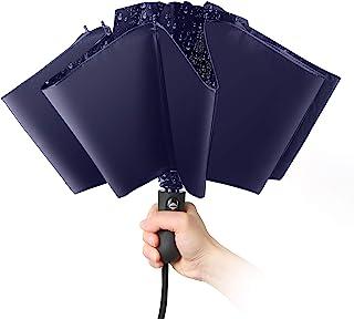 Cobiz 折りたたみ傘 ワンタッチ自動開閉 逆折り 10本骨 梅雨対策 晴雨両用 逆さ傘 大きい 折り畳み傘 風に強い 紫外線遮蔽率100% 超撥水 男女兼用 収納ポーチ付き (ネイビー)