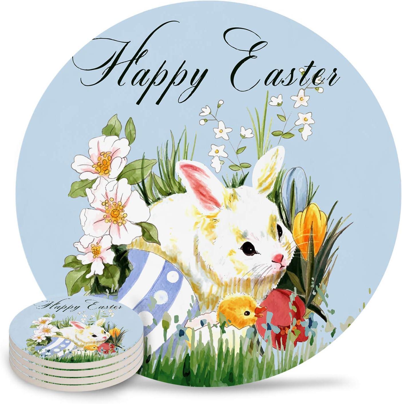 Drink Coasters Happy Easter Max 70% OFF Floral Absorbe Watercolor Bunny Colorado Springs Mall Eggs