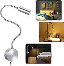 KWOKWEI Leeslamp, wandmontage, aluminium, dimbaar, zwanenhals, lamp met aanraakschakelaar, flexibele 3 W wandbevestiging, ...