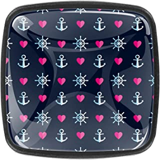 Paquet de 4 boutons d'armoire de cuisine, boutons pour tiroirs de commode Motif de motif marin Ancre Rose Coeur Motif Tire...