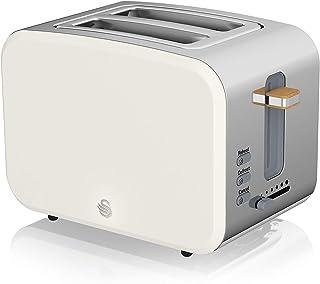 Swan Nordic Grille-pain à fente large 2 tranches, 3 fonctions, 6 niveaux de grillage, design moderne en acier inoxydable, ...