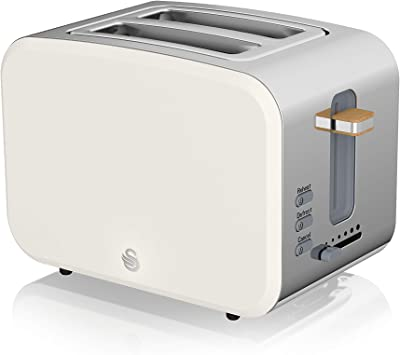 Swan ST14610WHTN, 2 Slice Nordic Toaster, Soft Touch Housing and Matt Finish, 900W, Cotton White