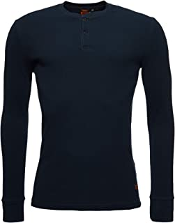 Superdry Mens T-Shirt 'Micro Texture Henley' - Long Sleeved