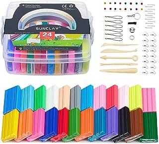 SUNCLAY Arcilla Polimérica - 600g/1.32lb 24 Bloques de Modelado de Color Arcilla de Horno Suave Hornear Arcilla con Herramientas de Modelado DIY Artesanía Arcilla Set para niños'regalo