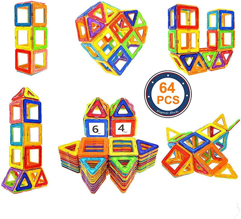 Soyee 64pcs Magnetic Blocks Educational Toys For 3 Year Old Boys And Girls Stacking Kids Toys Magnetic Tiles Big Building Block Set Great STEM Toy Gift Idea For Todders