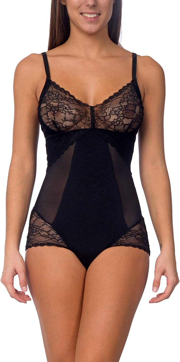 Body Beautiful Hooked on Lace Adjustable Strap Mesh Bodysuit (Black, Small)
