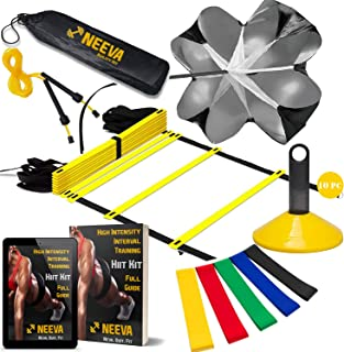 NEEVA Speed Agility Training Kit- Set of Premium Agility Ladder, 10 Disc Cones, Resistance Running Parachute, Jumping Rope, Mini Loop Bands & Sport Drills eBook