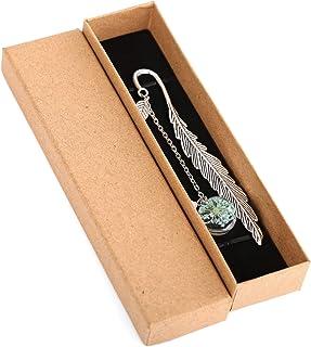 PUMYPOREITY Marque-Page en Forme de Plume en Métal avec Perle Feuille et Pendentif Fleur Sèche Éternelle Cadeau Signets de...