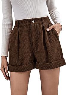 Romwe Women's Casual Wide Leg High Waist Cuffed Hem Corduroy Shorts with Pockets