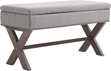 "HOMCOM 35.75"" Rectangle Fabric Shoe Bench Storage Ottoman with Soft Sponge Cushion, for Entryway or Living Room, Grey"