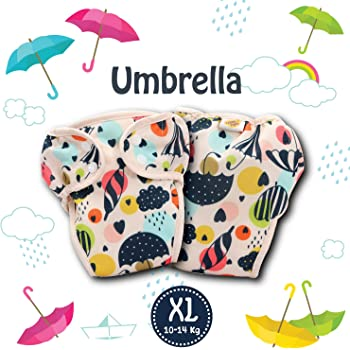 Paw Paw Reusable Baby Washable Cloth Diaper Nappies with Wet-Free Inserts for Babies/Infants/Toddlers (X-Large (10-14 Kg), Umbrella Print)