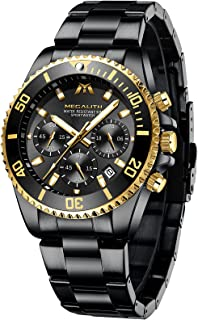 MEGALITH Montre Homme Étanche Chronographe Grand Montre Bracelet Acier Date Analogique Quartz Élégant Classique Lumineuses