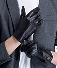 CHULRITA Men Nappa Genuine Leather Driving Winter Warm Driver Gloves with Wool Lining