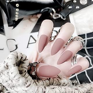 MISUD Stiletto Fake Nails Matte Almond Sharp Shape Nail Light Purple Popular Medium False Nail Tips
