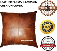 Leather Farm Thick Genuine Leather Pillow Cover TAN Pack of 2(18''x18'' (2))