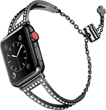 Secbolt Bling Bands Compatible Apple Watch Band 38mm 40mm Iwatch Series 4/3/2/1, Women Stainless Steel Metal Jewelry Bracelet Bangle Wristband, Black