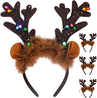 4Pcs LED Light Up Christmas Reindeer Antlers Headbands, Color Changing Lights in Antlers with On/Off Switch, Christmas, Holiday, New Years Party Favor Supplies, for Girls, Women, Kids & Adults.