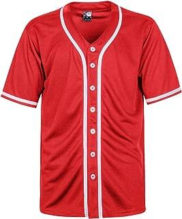 MOLPE Men's Blank Plain Hip Hop Hipster Button Down Baseball Jersey
