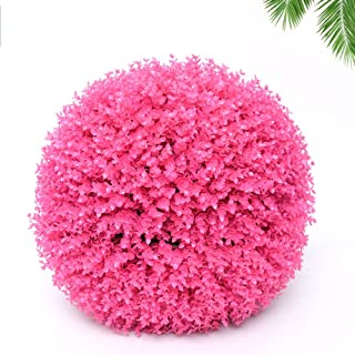 Eucalyptus Grass Ball with Artificial Flowers - Artificial Topiary Plant - Garden Decor - Indoor/Outdoor Artificial Plant Ball - Topiary Tree Substitute,Pink,40CM
