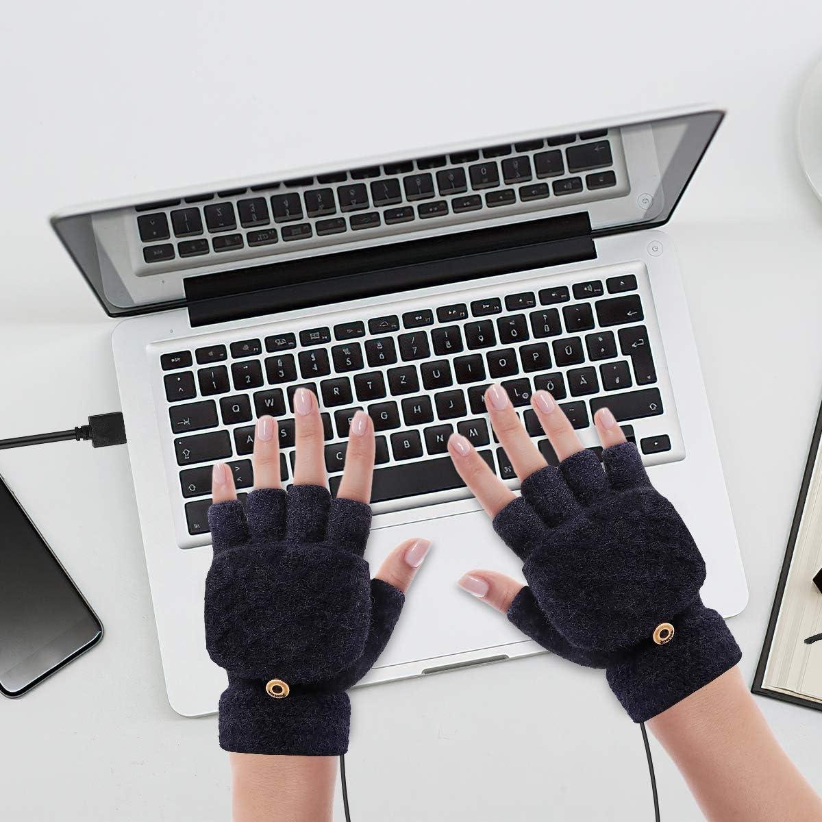 Yinuoday Guantes con Calefacci/ón Usb Guantes de Calefacci/ón El/éctrica de Invierno Unisex Guantes para Laptop Mitones 3 Configuraciones de Temperatura Completo Y Medio Dedo M/ás C/álido para