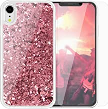 SanLead Phone Case for iPhone XR Quicksand Sequin Cover for Girls Anti-Scratch Shockproof TPU and PC with Screen Protector Compatible (iPhone XR, Pink)